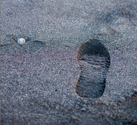 find your way: One human shoe footstep on sandy beach at sunset time. Find your way. Concept. Man walking alone. Nobody. Stock Photo