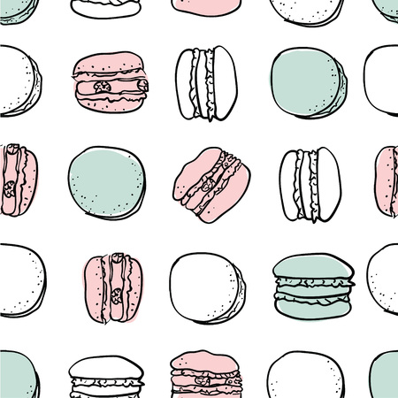 Vector macarons stylish seamless pattern. Romantic yummy macarons vector pattern isolated on white. Macarons vector. Vector macaron illustration. Flat lay food Illustration