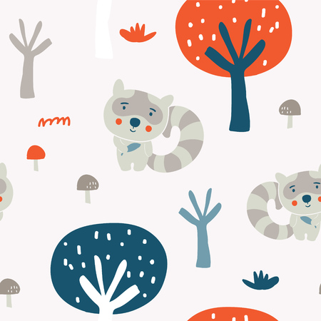 Cute racoon characters in the autumn wood seamless pattern Illustration