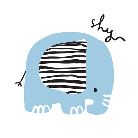 Cute girly hand drawn portrait of a shy elephant with hand lettering. Vettoriali