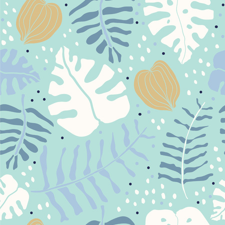 Tropical rainforest palm monstera leaves camouflage seamless pattern texture. Vacation holidays paradise island. Botanical vector design illustration. Scandinavian tropical pattern with blue background