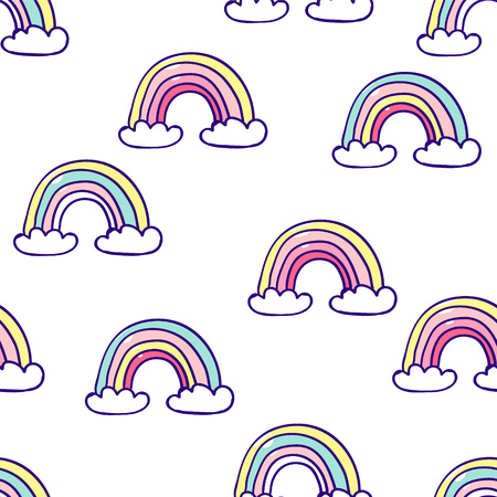 Kids hand drawn seamless pattern with colorful rainbows. Summer background. Vector illustration. Print for babys design. Scandinavian style