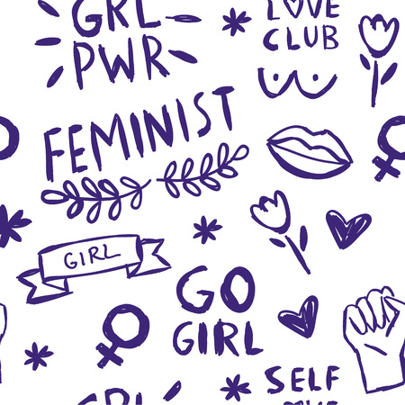 Feminism slogan and patches seamless pattern. Vector 80s style design. Retro pop stickers and badge. Girl power. Full time feminist. I love me. Feminist. Illustrations of pin, ice cream.
