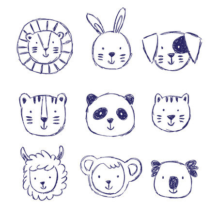 Childish set of illustrations with cute animals in black and white style. Creative scandinavian kids texture for fabric, wrapping, textile, wallpaper, apparel. Vector illustration