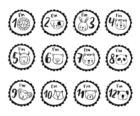 Set of cute birthday stickers with animals for babies Illustration