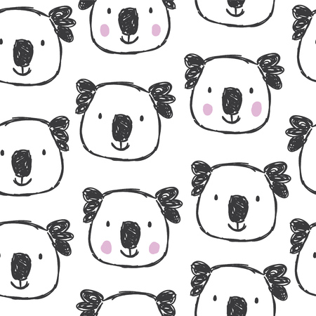 Childish seamless pattern with hand drawn coalas. Trendy scandinavian vector background. Perfect for kids apparel,fabric, textile, nursery decoration,wrapping paper Vettoriali