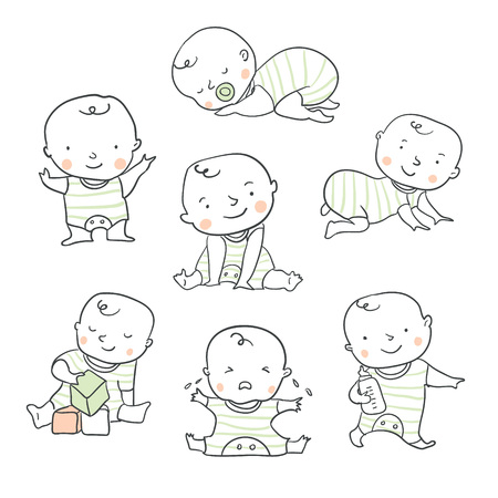 Cute baby or toddler vector illustration in various poses such as standing, sitting, crying, playing, crawling. Baby shower illustration Çizim