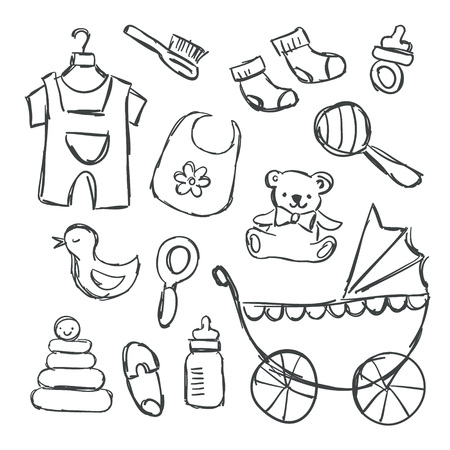 Vector illustration for baby shower and baby items in cute hand drawn doodle style. Baby shower stickers. Party hand drawn icons - socks, toys, craddle, bear, milk bottle, pyramid, nipple, beanbag