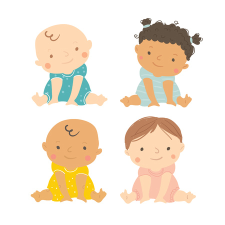 Baby vector. Multi-ethnic set of cute babies sitting. Toddler girls and boys. Cartoon vector hand drawn illustration isolated on white background.