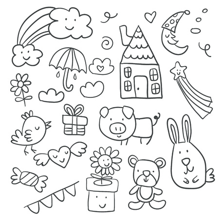 Collection of cute children's drawings of kids, animals, nature, objects.Vector illustration