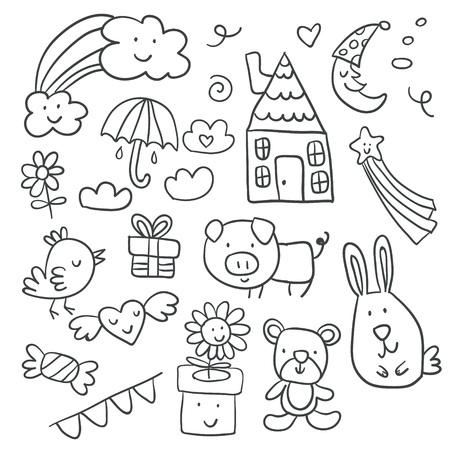 Sammlung süßer Kinderzeichnungen von Kindern, Tieren, Natur, Objekten. Vektorillustration