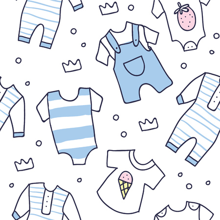 Seamless background, texture, backdrop, pattern, wallpaper with children cartoon doodle clothing. Baby shower seamless pattern of baby boy clothes. Newborn baby vector collection. baby care