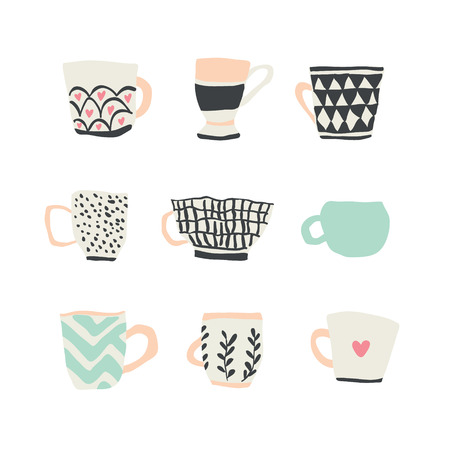 huge set with different cups of coffee illustrations on white background. cute coffee mugs stickers