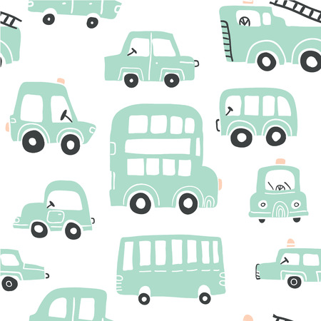 Seamless pattern with hand drawn cute green cars. Perfect for kids fabric,textile,nursery wallpaper.