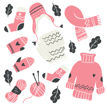 Collection of winter knitted clothes and knitting tools isolated on white background - woolen jumper, cardigan, scarf, hat, mittens, socks, needles, hook, yarn. Scandinavian christmas illustration
