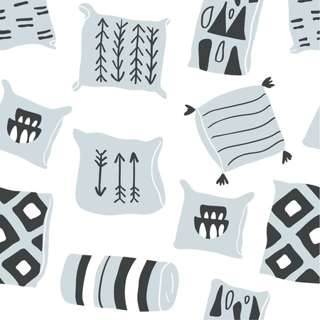 Cute vector seamless pattern with hygge elements - pillows. Autumn and winter mood. Stylish pillows textile design isolated on white background. Scandinavian style Ilustração