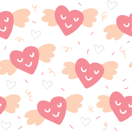 Valentines day seamless pattern with cute flying hearts isolated on white. Valentines day simple minimalistic pattern. Perfect for textile, fabric, tshirts, posters, cards, postcards, stationery