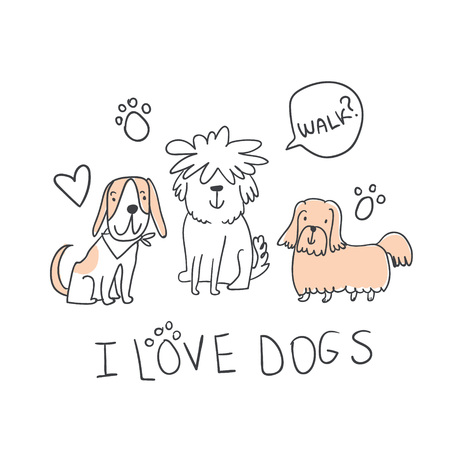 Set of cute handdrawn dogs line illustrations isolated on white with sign and speech bubble. Cute sketchy dogs lover illustration. Perfect for baby textile, tshirts, fabrics, stationary, posters