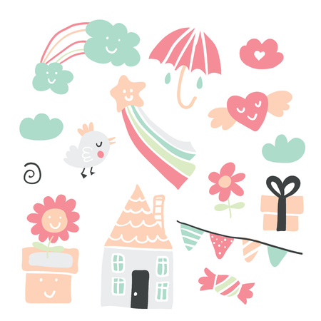 Collection of cute childrens drawings of kids, animals, nature, objects.Vector illustration Ilustração
