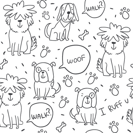 Cute handdrawn vector seamless pattern with cute doodle dogs, paws and woof. Black and white pattern for kids textile, fabric, textures, wrapping paper. Scandinavian design for kids apparel