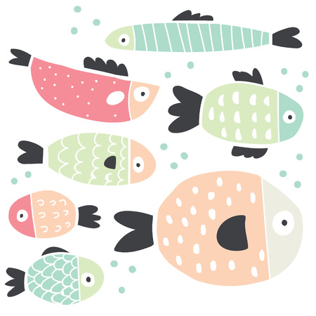 Cute handdrawn fish set isolated on white. Stylish scandinavian style minimalistic baby illustrations. Stylish colroful fish set. Perfect for textile, posters, fabrics, coloring books, stationary.
