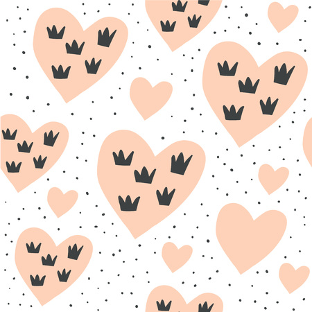 Vector seamless pattern with hearts and crowns on white background. Valentines day pattern. Cute girly pattern - perfect for textile, fabrics, children clothing. Scandinavian style - Vector