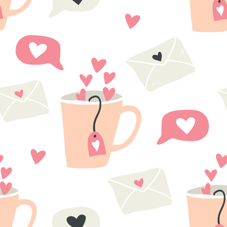 seamless pattern with cups of coffee illustrations, love letters and hearts on white background. Autumn and winter mood. Valentines day pattern. Scandinavian style - Vector