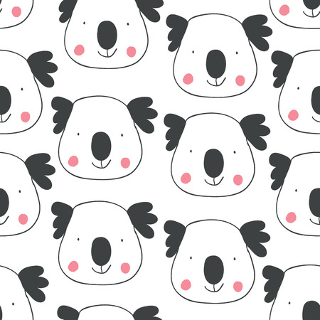 Childish seamless pattern with hand drawn coalas. Trendy scandinavian vector background. Perfect for kids apparel,fabric, textile, nursery decoration,wrapping paper - Vector Vettoriali