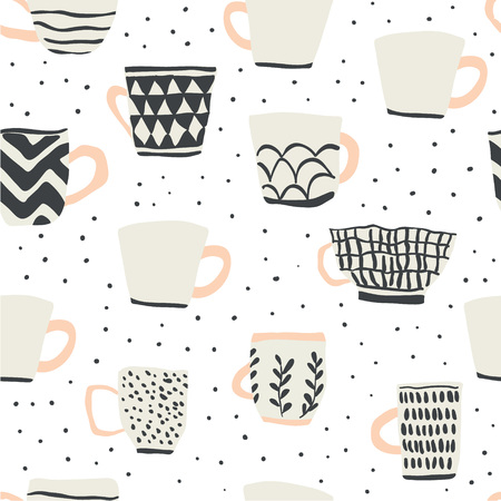 seamless pattern with cups of coffee illustrations on white background. Autumn and winter mood. Home decorations isolated on white background. Scandinavian style