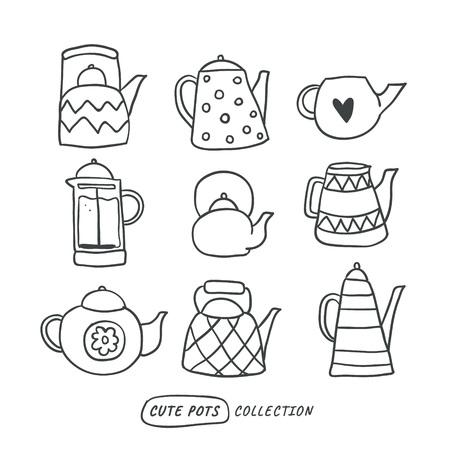 Set di teiere disegnate a mano contorno carino isolato su bianco. Illustrazione di scarabocchio. Set di simpatici elementi in stile scandinavo. Interni, decorazioni per la casa. Vettore. Isolato - Vettore Vettoriali