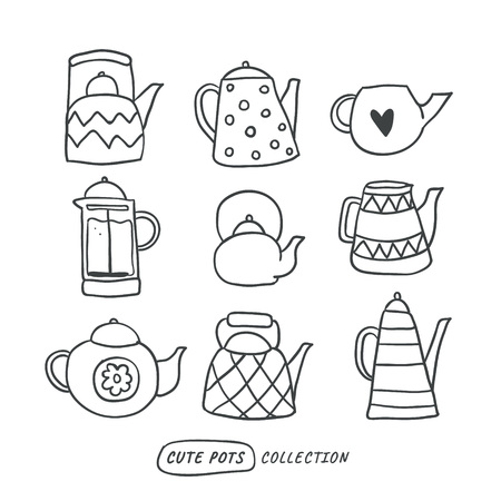 Set of cute outline hand drawn tea pots isolated on white. Doodle illustration. Set of cute scandinavian style elements. Interior, home decor. Vector. Isolated - Vector Vetores