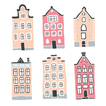 Decorative doodle houses collection. Stylised city. Street. Cottages. Scandinavian city landscape. Hand drawn. Children's art set. Home sweet home - Vector