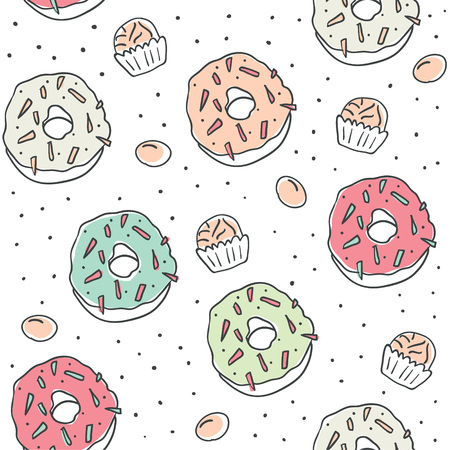 Sweet cartoon colorful donuts seamless pattern. Top View Doughnuts collection for menu design, cafe decoration, delivery box, tshirt, fabric, textile. vector illustration in flat style - Vector