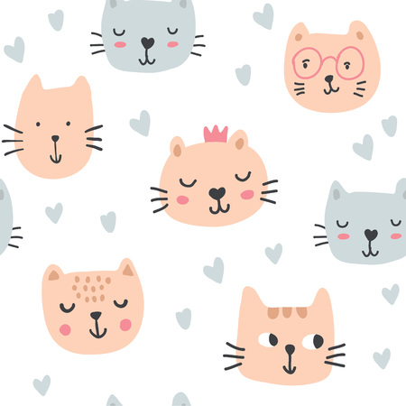 Cute cats in glasses, crowns, hearts seamless pattern. Pet vector illustration. Cartoon cat images. Cute design for girls, kids. Hand drawn children's pattern fashion clothes, shirt, fabric - Vector
