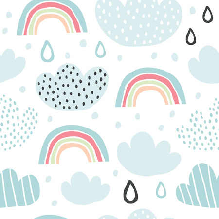 Childish seamless pattern with rainbows, raindrops in the sky. Cute cartoon background. Perfect for fabric, textile, wrapping.Vector Illustration - Vector