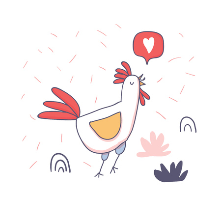 Cute cartoon rooster with love emoji in doodle sketchy style. Childish print for nursery, kids apparel, poster, postcard. Vector Illustration - Vector
