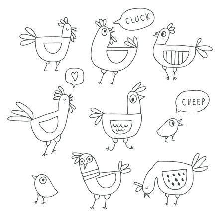 Cute cartoon rooster, chicken and hen family. Outline chicken, hen, rooster characters in doodle sketchy style. Childish print for nursery, kids apparel, poster, postcard. Vector Illustration - Vector Çizim