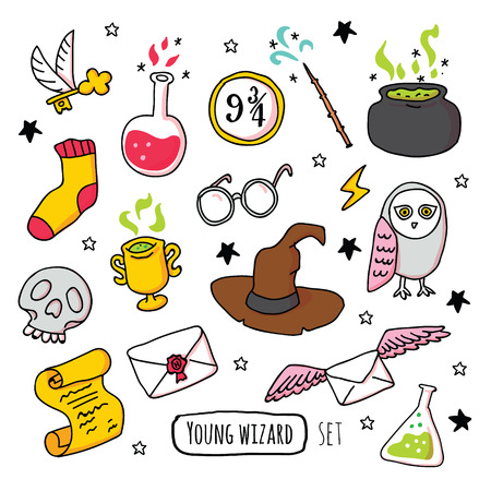 Different magic elements for witches in cartoon style. Vector illustration - Vector