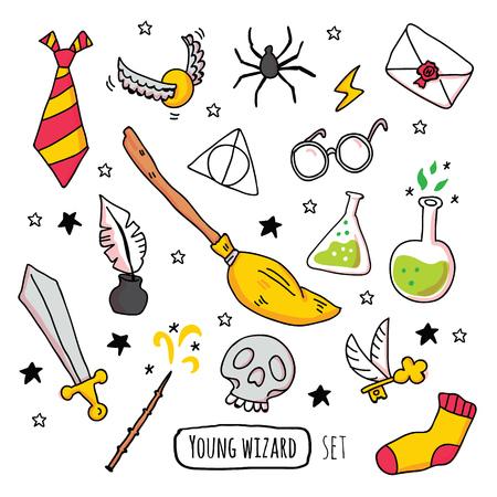 Diferentes elementos mágicos para brujas en estilo de dibujos animados. Ilustración vectorial - Vector