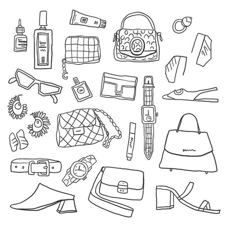 Set of fashion accessories. Outline woman items and accessories. Collection of bags, shoes, high heels, sun glasses, earrings, watch and cosmetics on white background. Vector illustration. - Vector