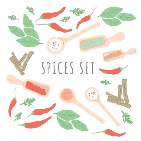 Doodle herbs and spices concept design. Hand drawn vector illustration. Can be used for festival, menu, cafe, restaurant, bar, poster, banner, emblem, sticker, placard. - Vector