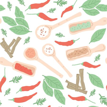 Doodle herbs and spices seamless pattern. Hand drawn vector illustration. Can be used for festival, menu, cafe, restaurant, bar, poster, banner, emblem, sticker, placard. - Vector