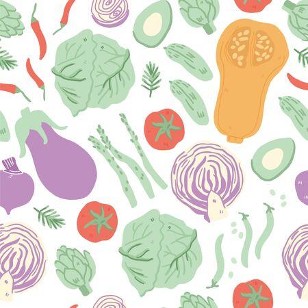 Seamless pattern with hand drawn doodle vegetables. Vector texture. Flat icons: peas, cucumber, broccoli, avocado, cauliflower, asparagus, pumpkin, tomato. Vegetarian healthy food. Vegan, farm -Vector
