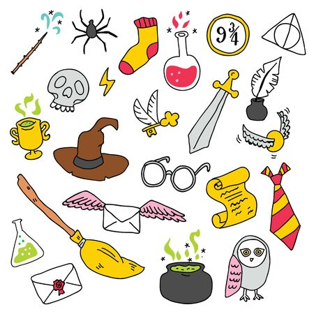 Different elements for witches at school of magic in doodle style. Vector illustration - Vector Illustration