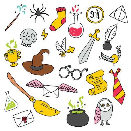 Verschiedene Elemente für Hexen in der Zauberschule im Doodle-Stil. Vektor-Illustration - Vektor Vektorgrafik
