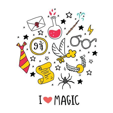 Verschiedene Elemente für Hexen in der Schule der magischen Kreisillustration mit Ich liebe magischen Schriftzug. Vektor-Illustration - Vektor