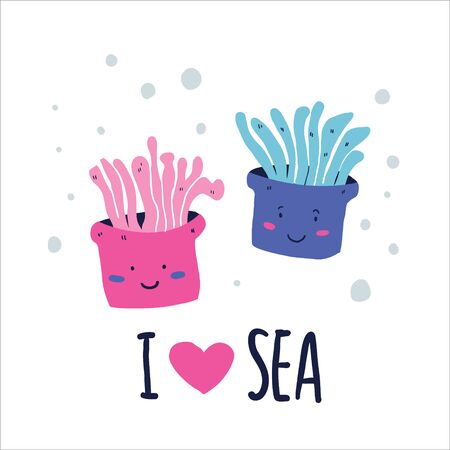 Cute doodle sea creatures with I love sea lettering. Hand drawn sea anemones underwater vector. Perfect for tshirt, fabric, print for kids, teenagers