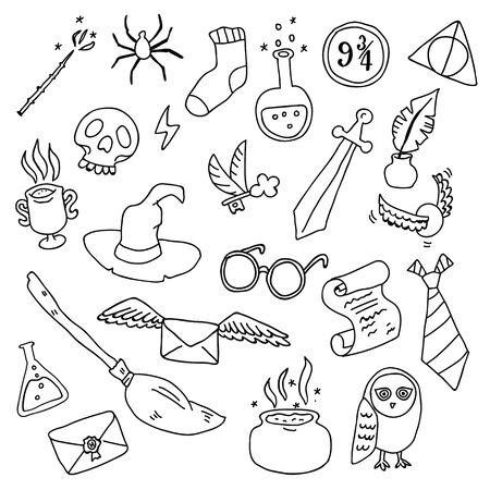 Différents éléments de contour pour les sorcières à l'école de magie dans le style doodle. Illustration vectorielle - Vecteur