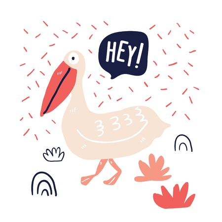 Hand drawn cute pelican doodle illustration with speech bubble. Cute summer time illustration, perfect for tourism, beach party, thirt. - Vector Ilustração