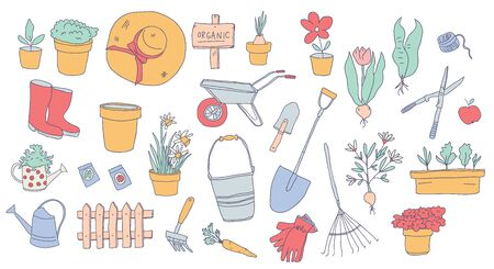 Hand drawn illustration of gardening elements: watering can, flower pot, plant, fence, carrot, water can in polka dot, garden tools, seeds, flowers, plants. Happy gardening design set. - Vector